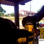 Um brinde no bar, com Mato Seco ao fundo.