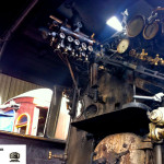 Interior da locomotiva a vapor.